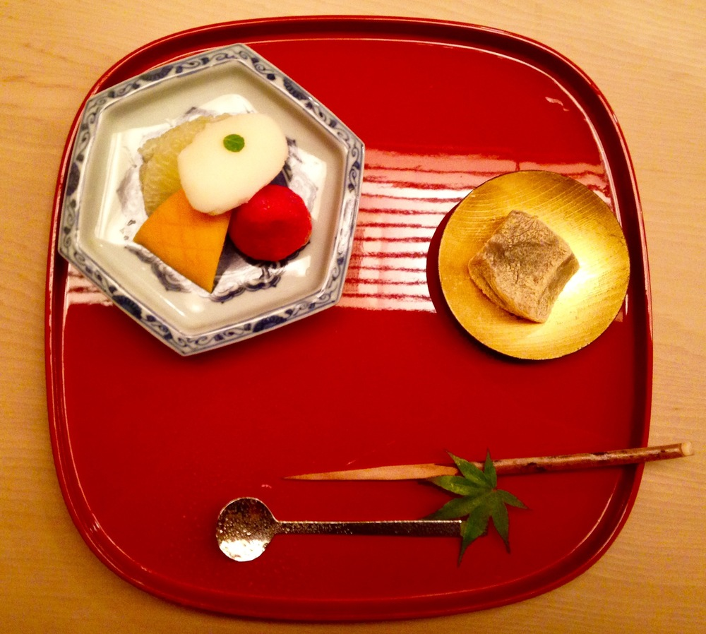 Mizumono Course: Dessert.  Warabi-moti (like a green tea Japanese Turkish Delight) and banana sorbet with fruit.