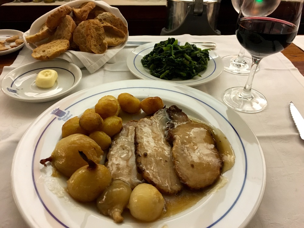 pork, potatoes, spinach