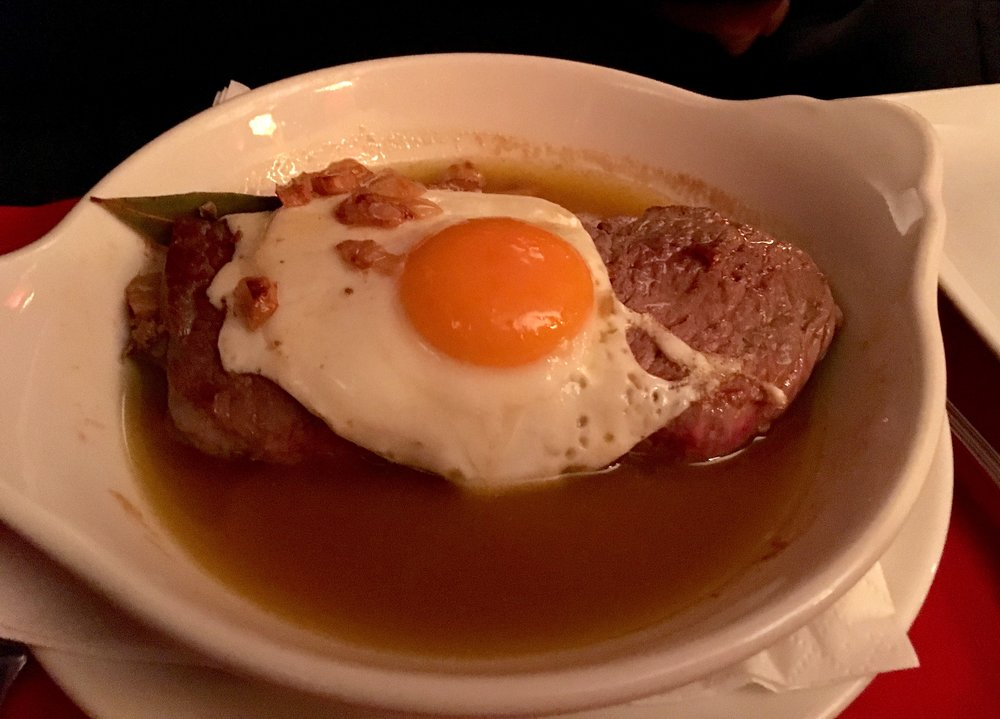 steak egg garlic
