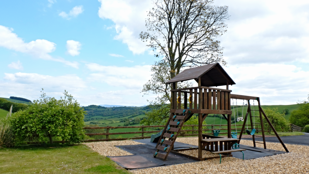 Children's play area overlooking the beautiful Welsh countryside.