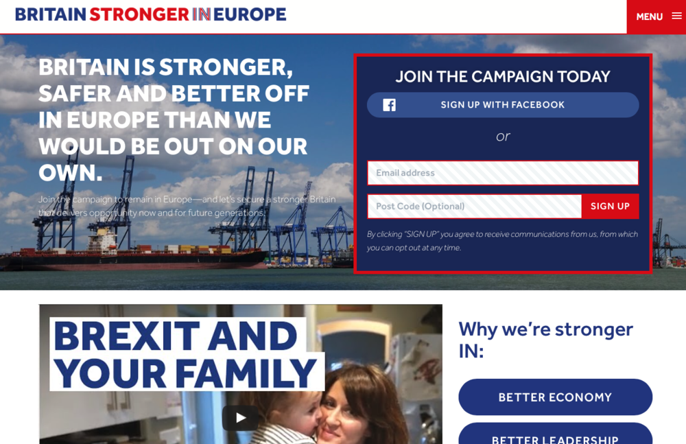 The 'Britain Stronger in Europe' home page