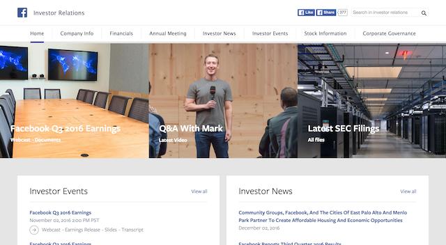 Investors landing page