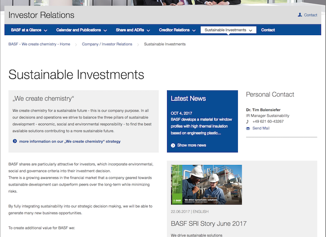 The BASF 'Sustainable Investments' sub-section