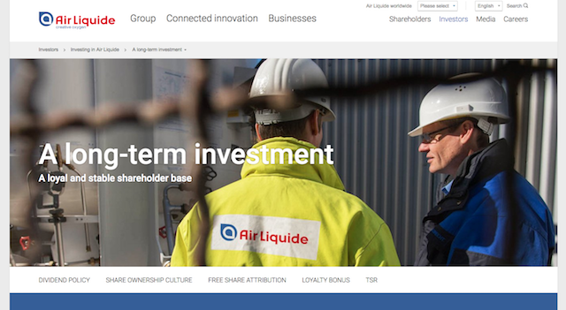 Air Liquide's online pitch to investors