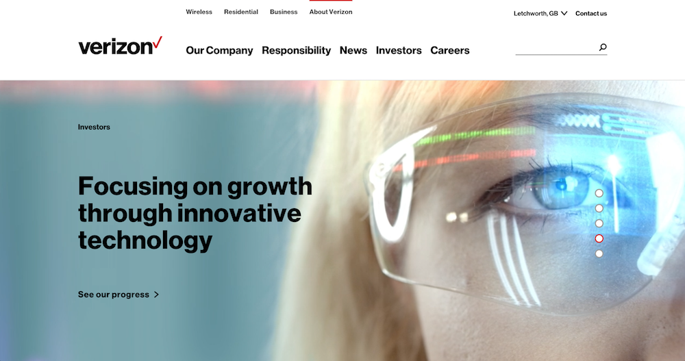 A still shot from the  Verizon corporate home page