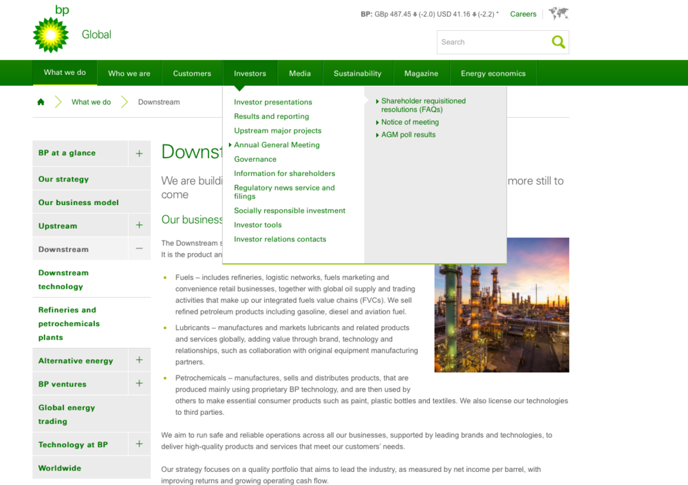 BP's global website is most notable for its excellent usability, which comes largely from a refusal to drop left menus. This makes BP's site much easier to use than most other corporate sites, with no real loss in visual appeal.