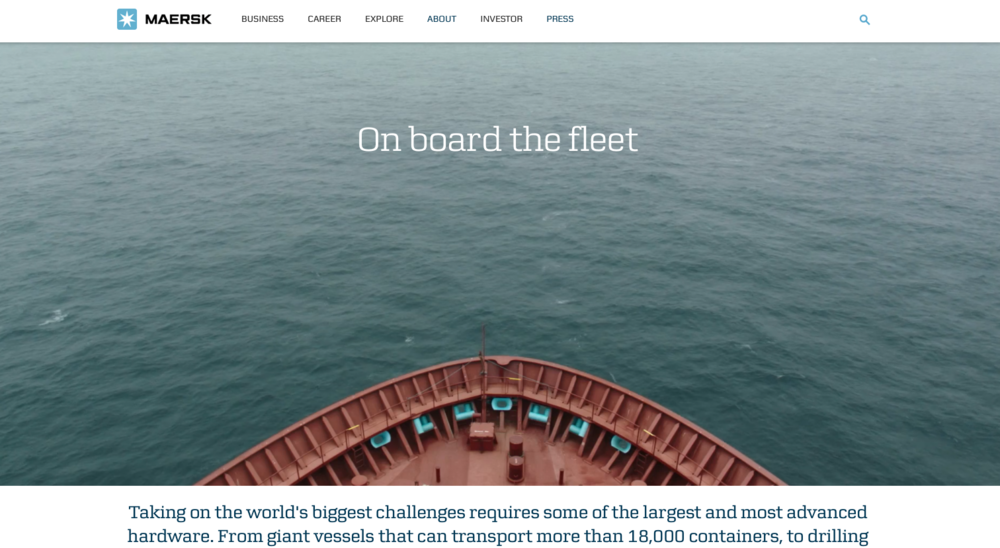 Maersk's global site continues to set standards in design. It is also editorially rich, with good use of 'stories' to convey key corporate messages.