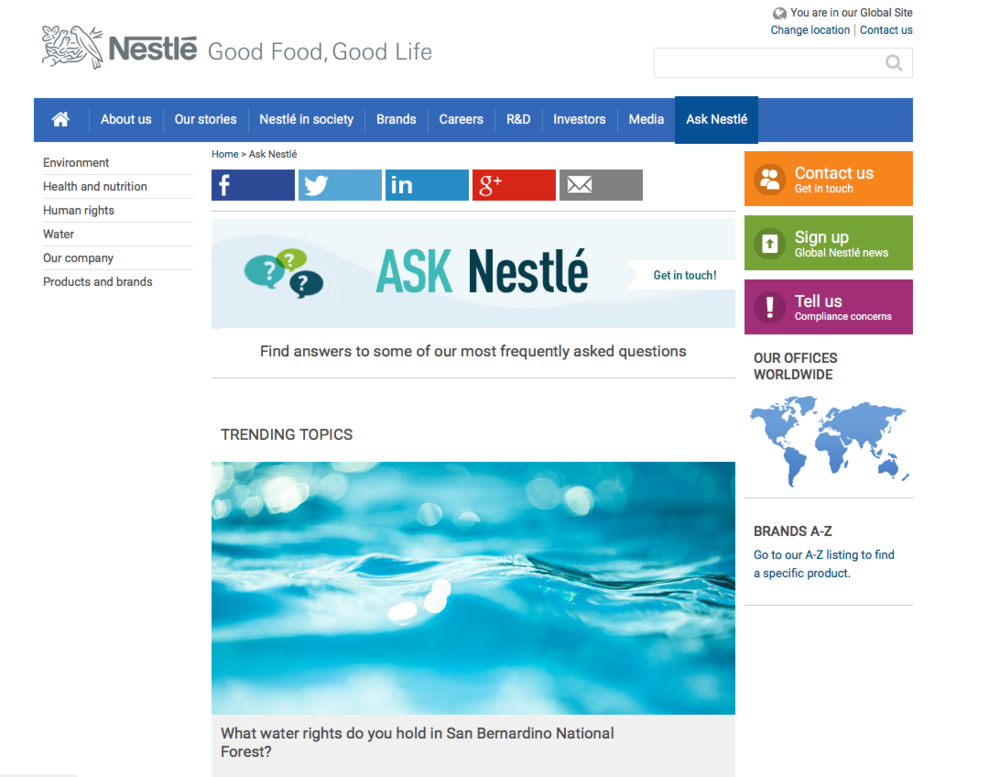 As well as providing invitingly presented, comprehensive governance information and extensive CSR reporting data, Nestlé openly and energetically addresses controversies and criticisms on its global website, most notably via the Ask Nestlé primary section.