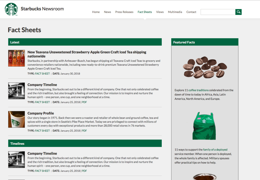 Weaknesses elsewhere on Starbucks' online estate pull it significantly short of our overall top 30. But its online provisions for journalists shine. Powerful press release search tools; comprehensive, regularly updated fact sheets; and an exceptionally deep image library are among the stand-out features.