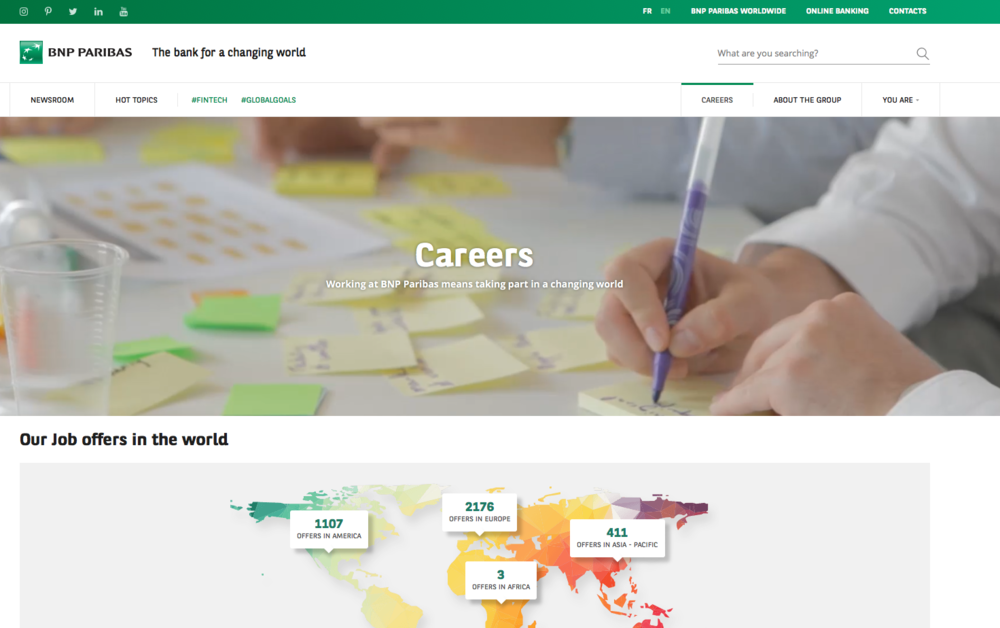 Like Starbucks, BNP Paribas is not in our overall top 30. But it is among the top performers for serving jobseekers. An impressively smooth global job search tool; stylish material that effectively sells the company as workplace; and imaginative use of multimedia are among the highlights.