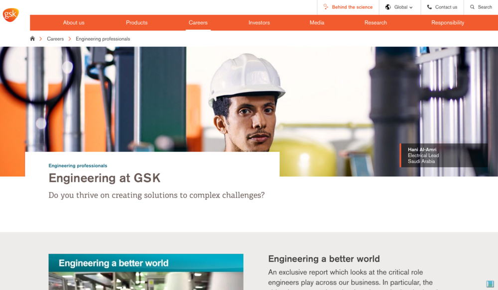 GSK makes excellent use of employee profiles and stories to show jobseekers what working at the company is like. The company's innovative and welcoming new job finder tool attempts to redefine what the corporate job search can look like - mostly successfully.