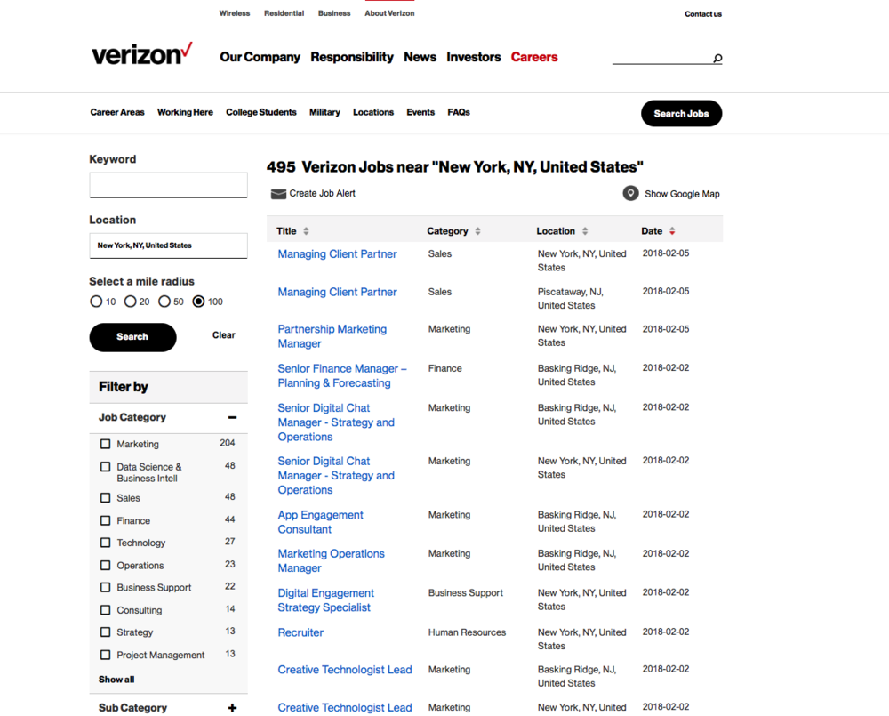 Verizon's simple but effective job search tool has a useful and unusual browse feature, which offers candidates a variety of ways to find suitable vacancies. Military recruitment material remains another strength, as does a Locations directory.