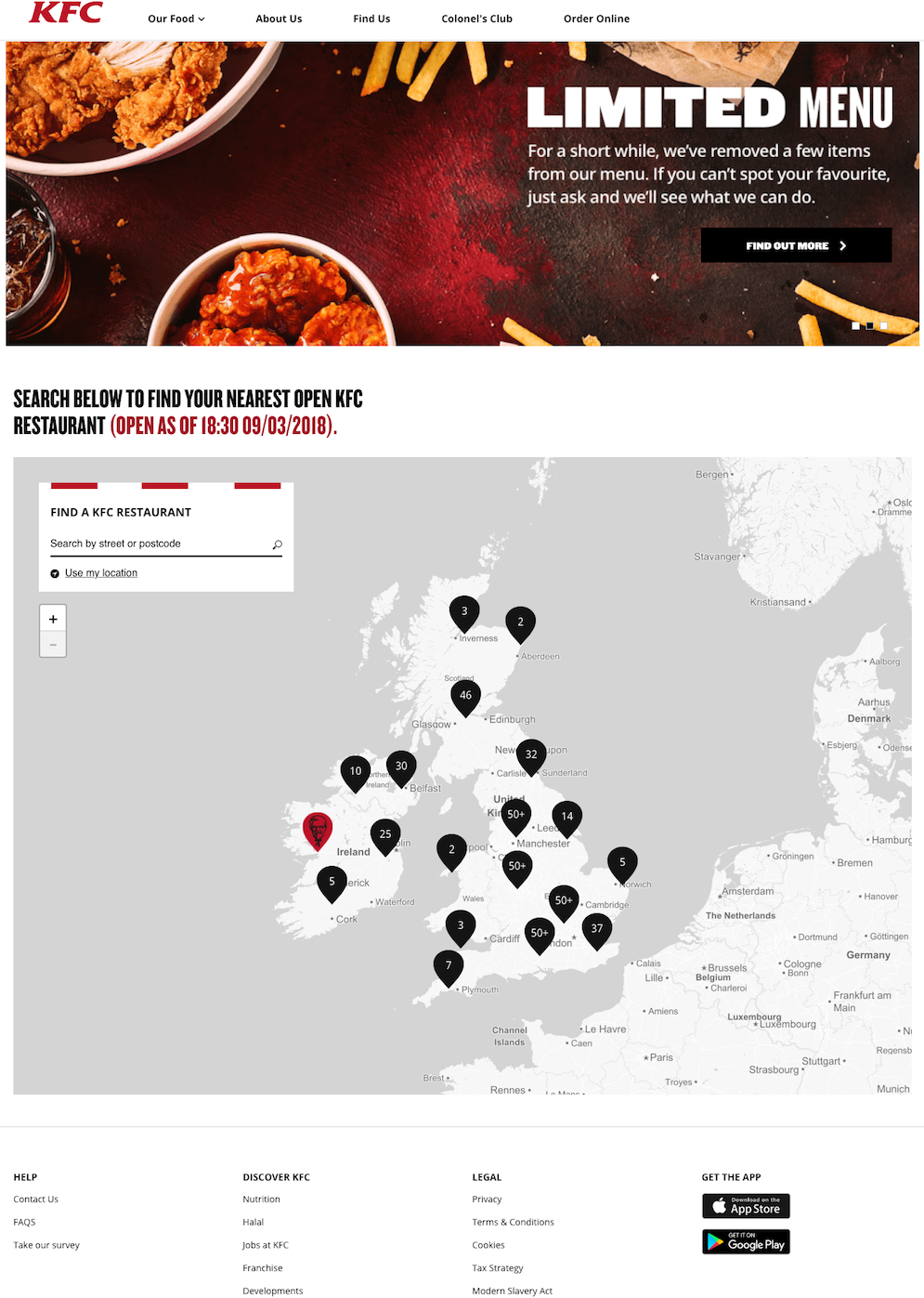 KFC UK's 'Crossed the road' store finder
