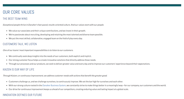 Danaher's 'Shared Purpose and Core Values' page