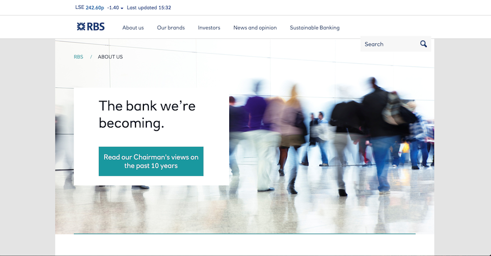'The bank we're becoming' page on RBS's corporate website