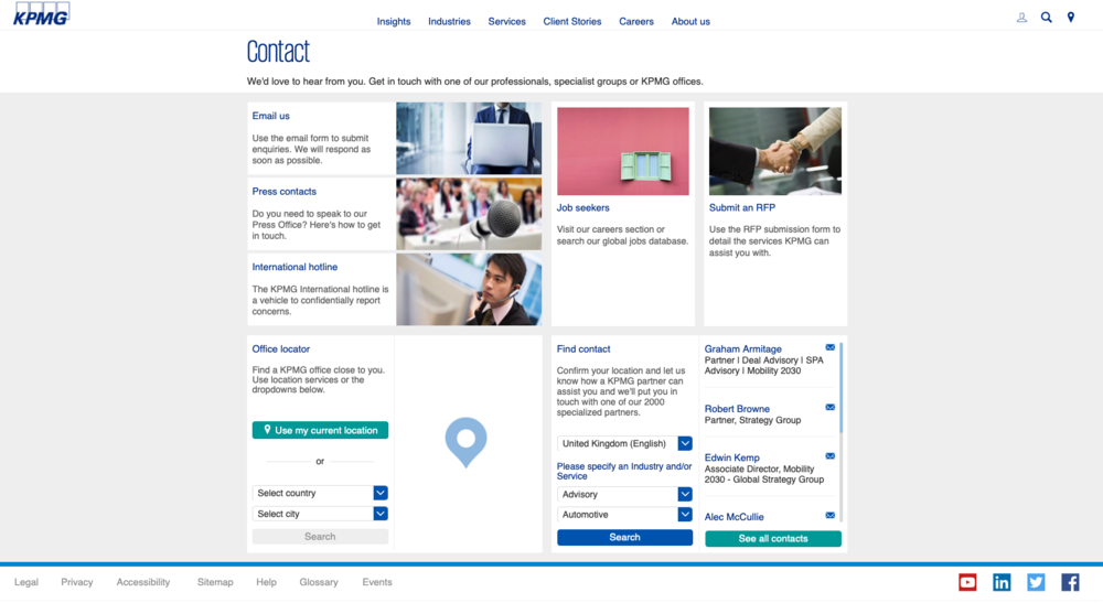 KPMG's global site has a Contact page with a powerful tool for finding contact details for a relevant expert (bottom-right panel in screenshot above)