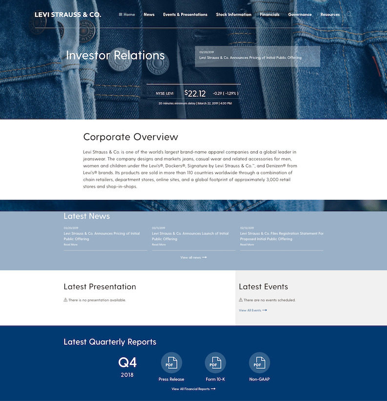 Levi Strauss & Co IR site home page