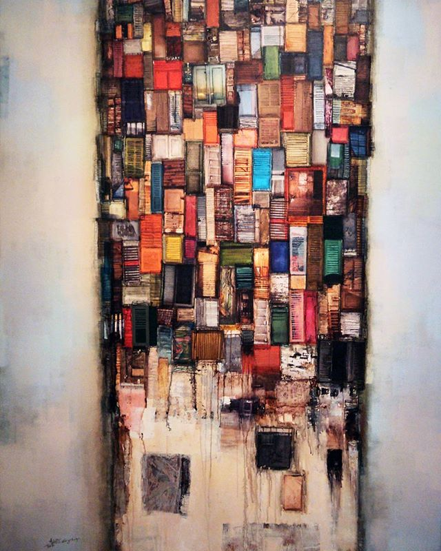 With 'Floating Tower of Windows', Addis Gezahegn displays the chaos and dizziness which exists in Addis, Ethiopia and other growing cities in Africa and across the world. Explore more of his work at shop.tatugallery.com. #tatugallery #artisnow #checkoutafrica #urbanart #africaart #art #artistshouts #addisababa #ethiopia