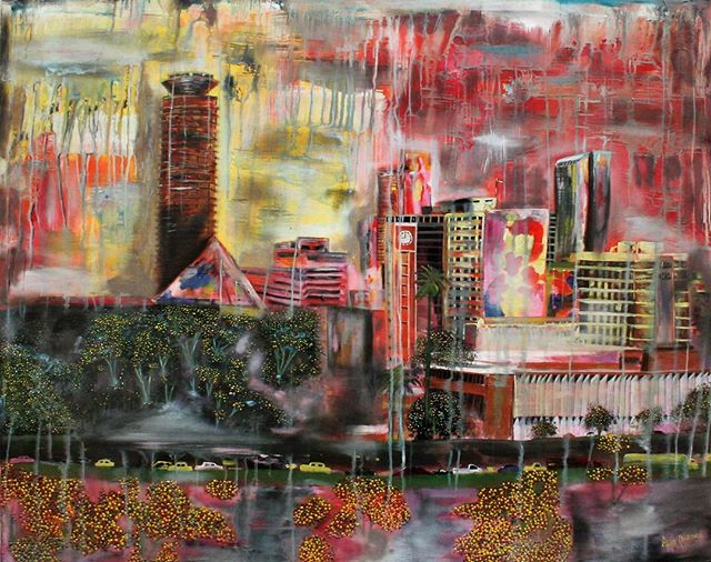 In 'Nairobi City', Alex Njoroge captures the complexities of modernity in urban areas in Nairobi and other major cities in Africa. See the piece up close at goo.gl/M0Jz1. Explore more of Alex's work at tatugallery.com. #tatugallery #artisnow #checkoutafrica #urbanart #artist #art #nairobiart #artistshouts