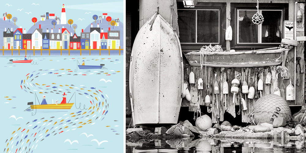 left: art print from Special Collection | right: photo by Joseph Kayne from his New England Black and White Collection