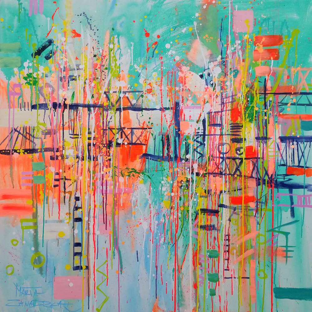 On the Mad Bridge. Marta Zawadzka. Acrylic, Ink and Spray Paint on Canvas. 110 x 110cm.