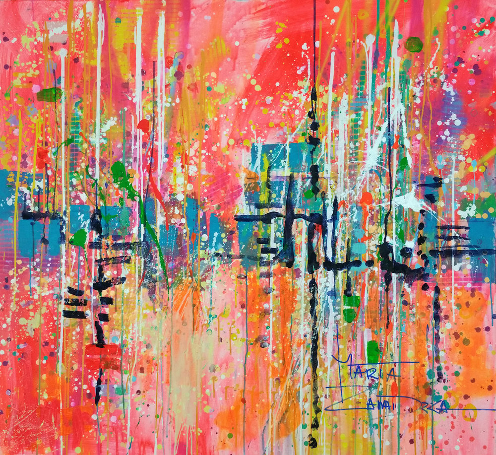 """Red City"" Acrylic, Ink and Spray Paint on Canvas. 120 x 110cm. Ready to hang."