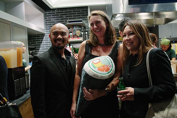 Designers at @sushidesignsny gives Uma Temakeria co-founder a custom-designed sushi pillow!