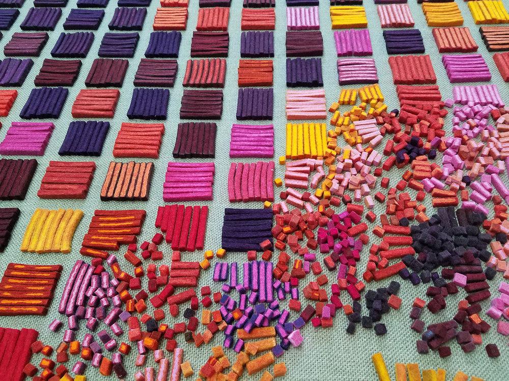Hand dyed wool felt