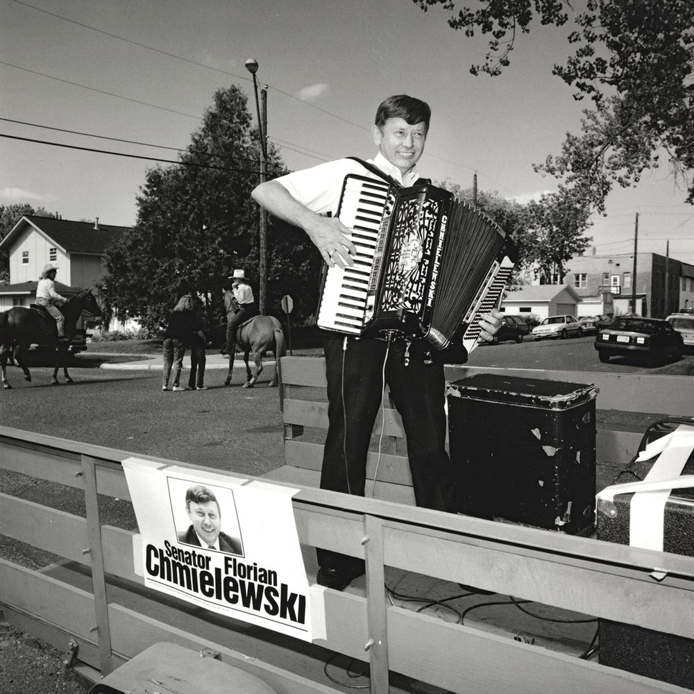 Accordion Playing Senator, Sandstone, Minnesota, archival pigment print, 16x20, 1990