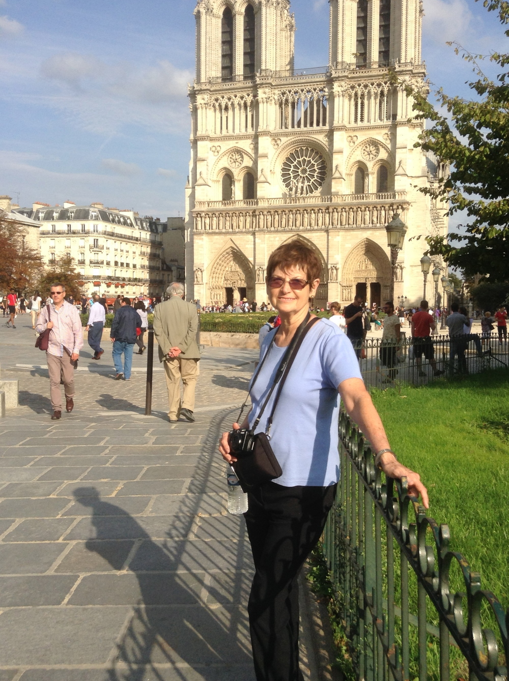 My wife, Beverly, in front of Notre Dame Cathedral.