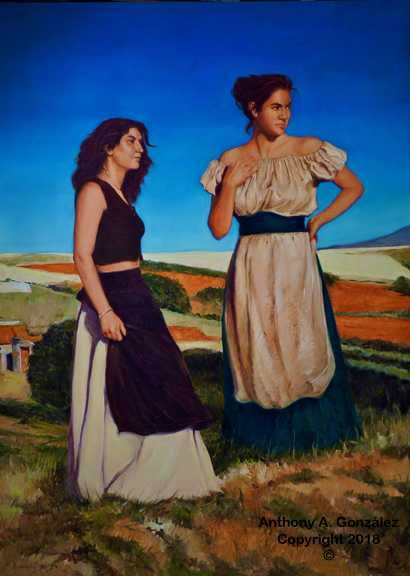 This is a recent painting from my trip to Spain.  Two young women modeled for me in their medieval costumes. I had them pose on a hill that overlooked the wheat field in the town of Ayllon, Spain I liked the look, the mood and the expressions of the young women. That is what inspired me to paint this painting.