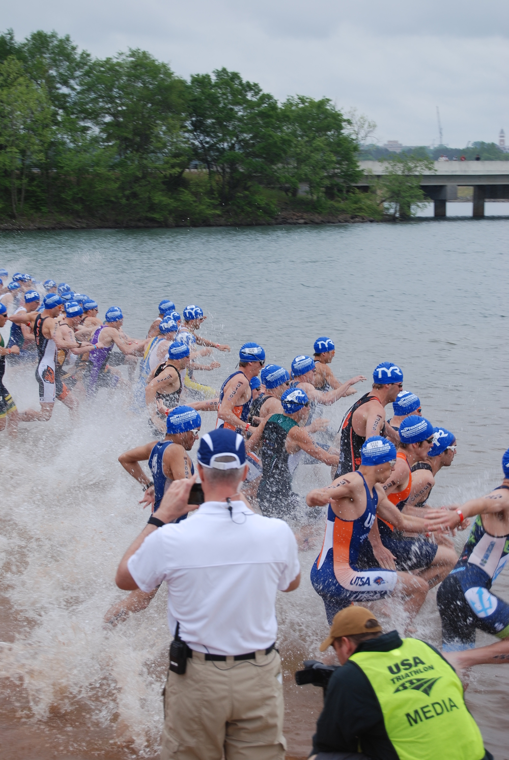 Start of the race and I am 4th from the right. Next to JR Creekmore, who I grew up swimming and running with