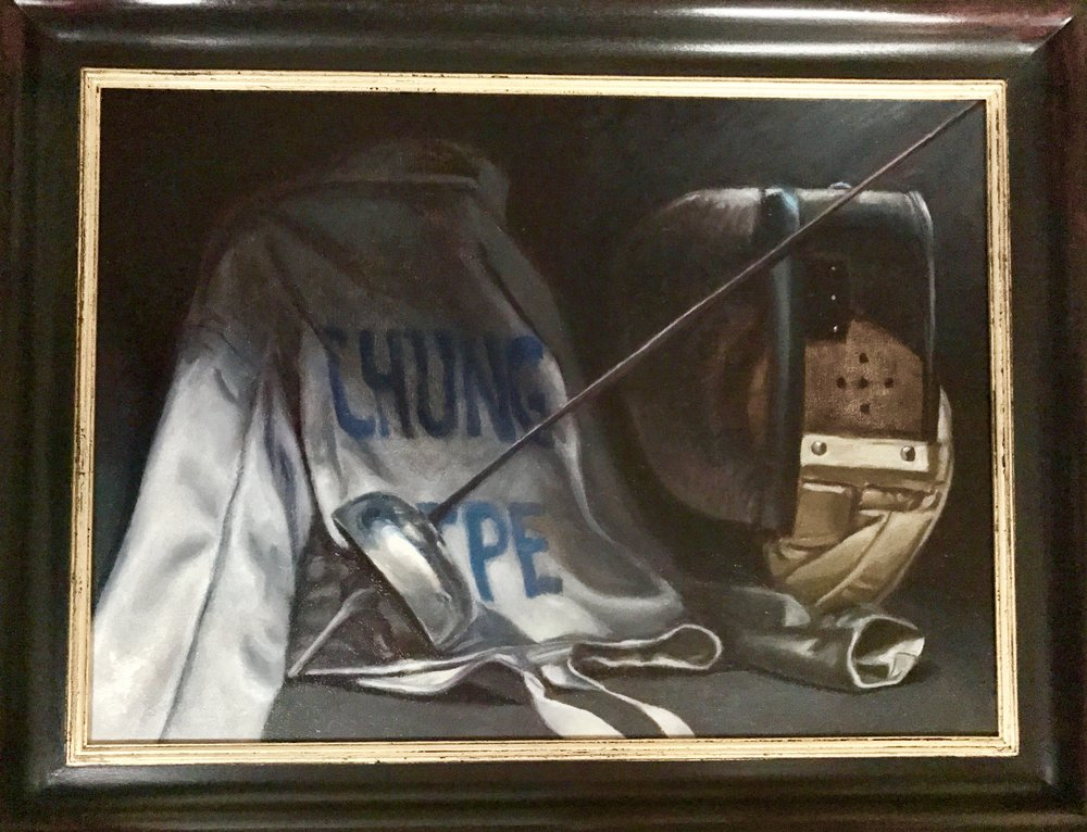 Commission: still life of fencing kit