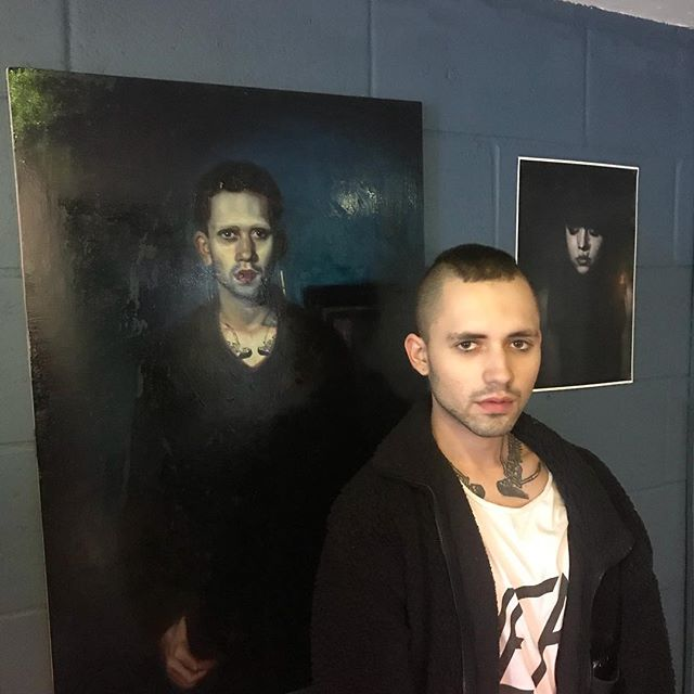 Nate in front of his portrait, which I've donated to the warehouse . . . #painting #portrait #portrait_perfection #portraitpainting #oilpainting #art #artofinstagram #artist