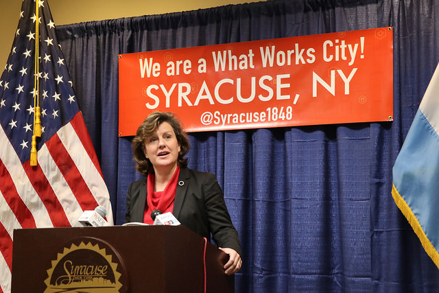 Mayor Stephanie Miner announcing the City of Syracuse's new partnership with What Works Cities.
