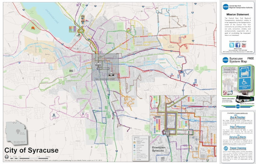 Centro bus route map for the City of Syracuse