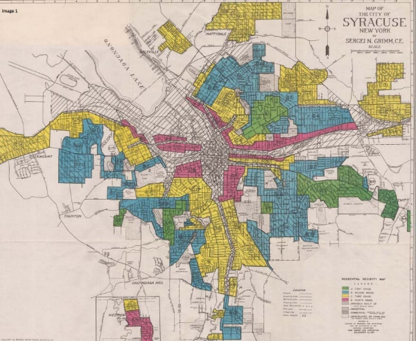 Map of FHA redlining in Syracuse, NY