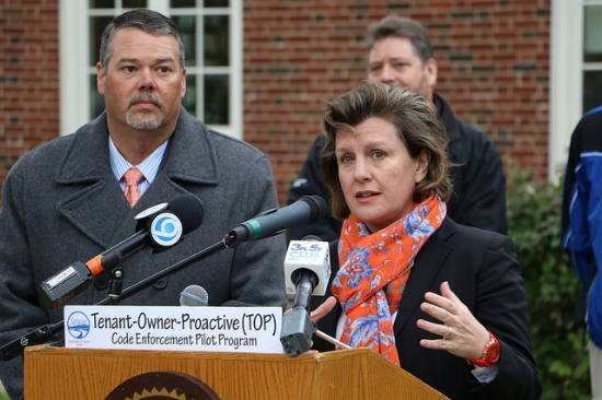 Mayor Miner with Director of Code Enforcement, Ken Towsley, announcing the TOP Pilot program on Wednesday.