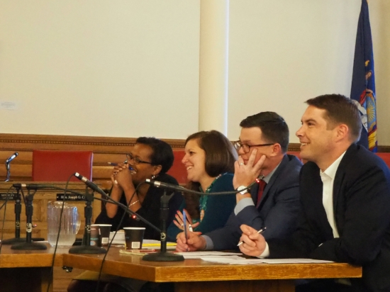 Civic Innovation Challenge judges (left to right): Deputy Mayor Sharon Owens, Director of Administration Christie Elliott, Councilor Michael Green, Mayor Ben Walsh.