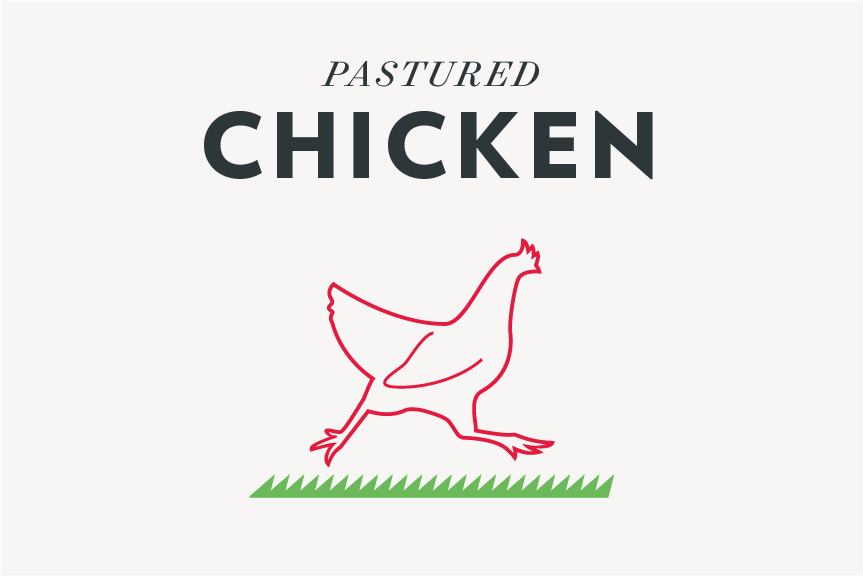 Q Farms chickens are humanely raised on our rolling pastures and rotated daily. They are grown without the use of  antibiotics, and are fed non-GMO grains to supplement the grass and insects they naturally eat.