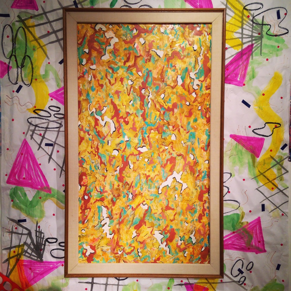Mars Camo painting (with hand painted wallpaper background) watercolor, gauche, pastel, conte, charcoal, ink and acrylic on mylar.