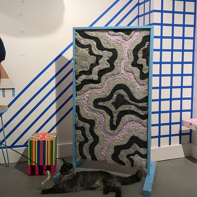 "the Cat-Scratch Painting I made for ""the Cat's Meow"" exhibit has layers of carpet with catnip imbedded in. I love watching cats scratchin and rubbin up on it to get that good stuff ✌️😸☘️ ($200 w 1/2 proceeds@going to SCAT!)"