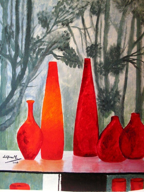 """RED GLASS LIGHTING THE TREES"""