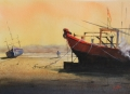 Asean boat on beach. 40 x 50 cm,watercolor € 750JPG.JPG