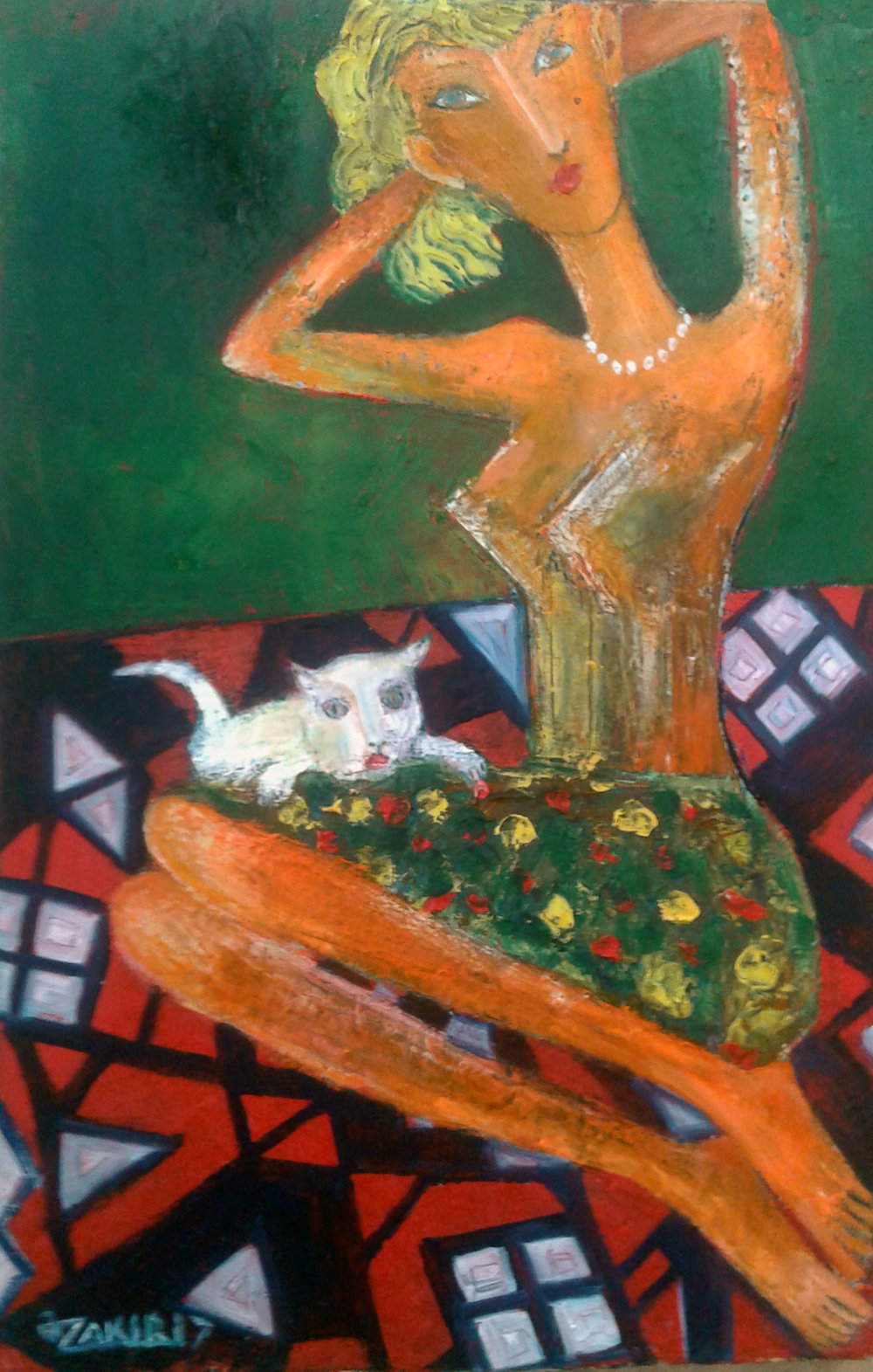 39.Girl and cat 2017year 45x30cmOriginal Painting Oil on Canvas2500$.jpg