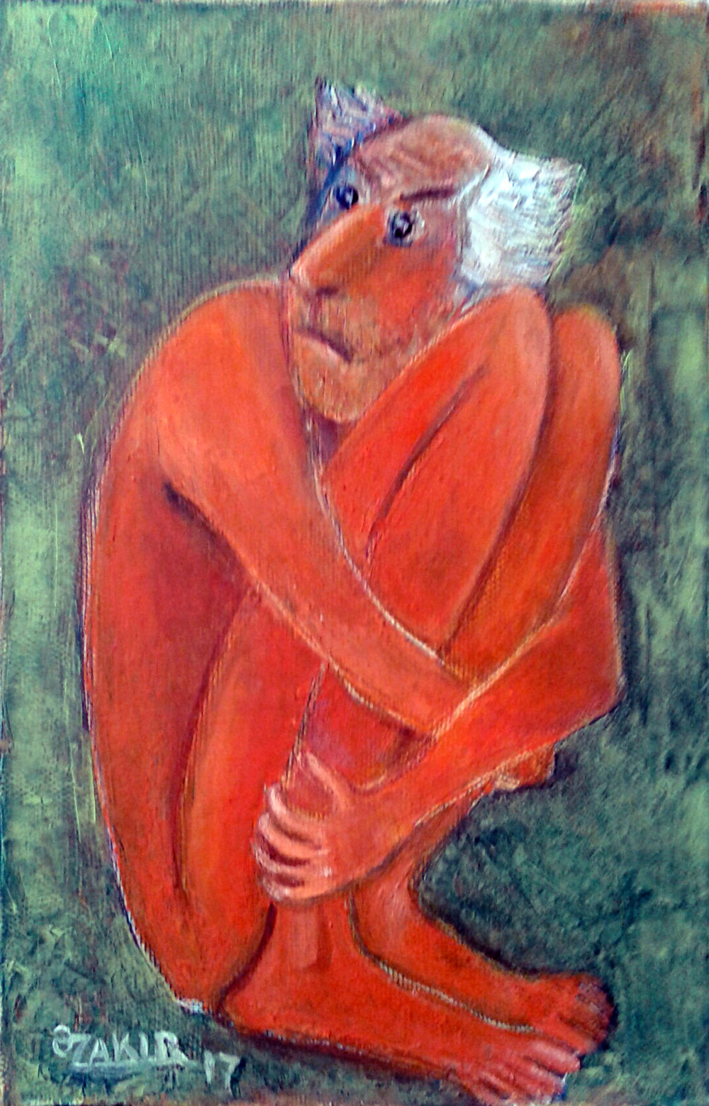 42.Fear2017year 30x30cm Original Painting Oil on Canvas1300$.jpg