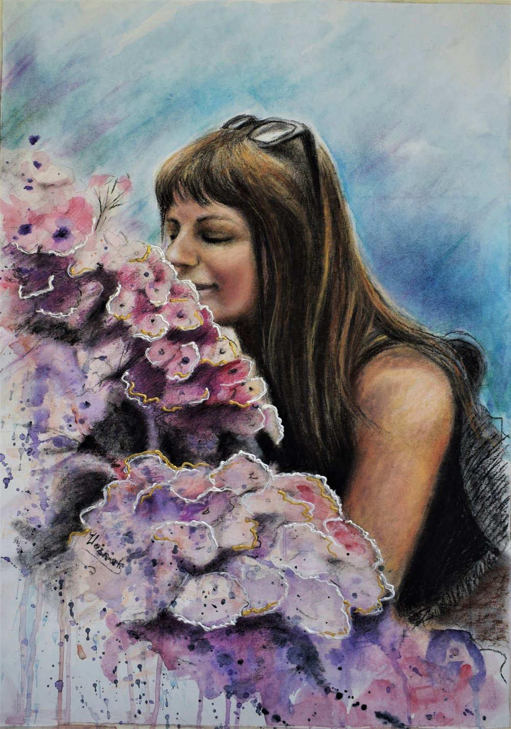 Watercolor, charcoal, soft pastel     on watercolor paper 50 x 70 cms