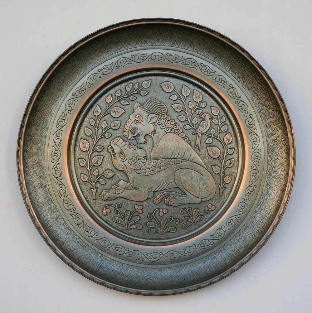 8-Lion and Lioness D-36cm. Chasing, hammering, engraving. Copper covered with silver.jpg