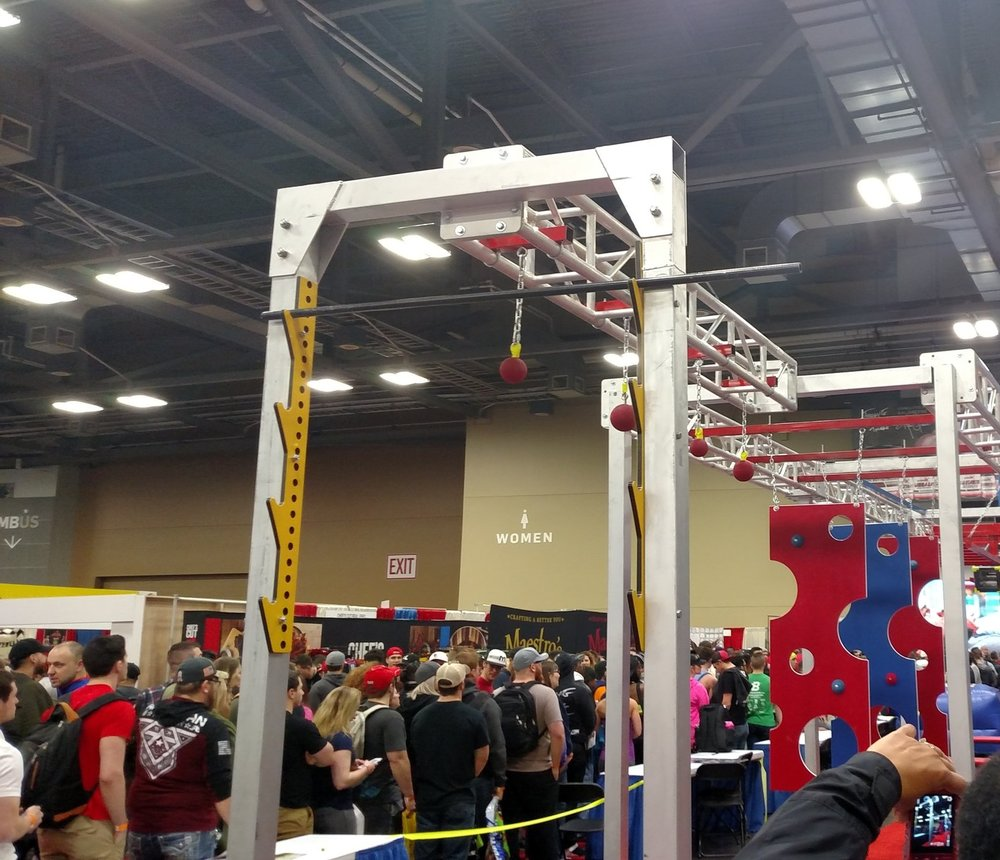 Salmon Ladder SMS  as the first obstacle on the Ninja Warrior Course, during the Arnold Sports Festival 2017!