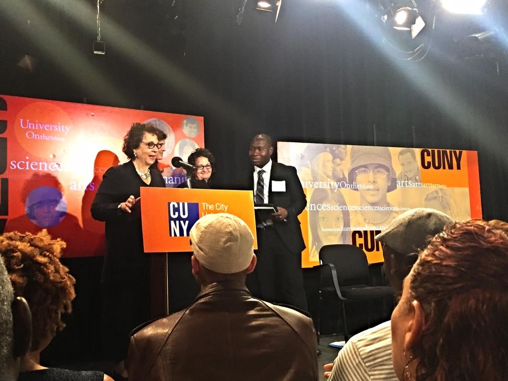 Kamar ledgister accepting his award